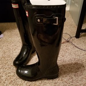 Black Glossy High Hunter Boots